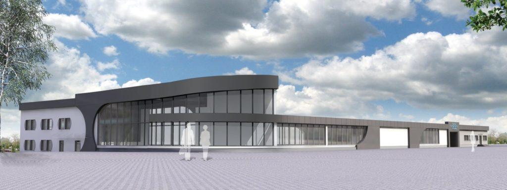Wizualizacja przebudowy głównego budynku MSP. Elewacja północna i wschodnia.