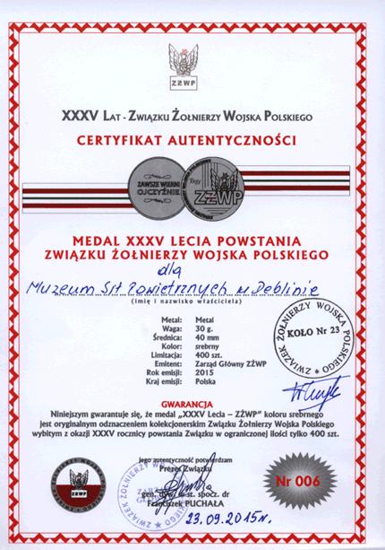 Medal certyfikat