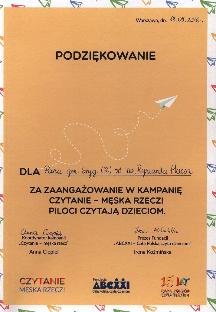 Piloci czytają dzieciom Muzeum SIł Powietrznych w Dęblinie -dyplom