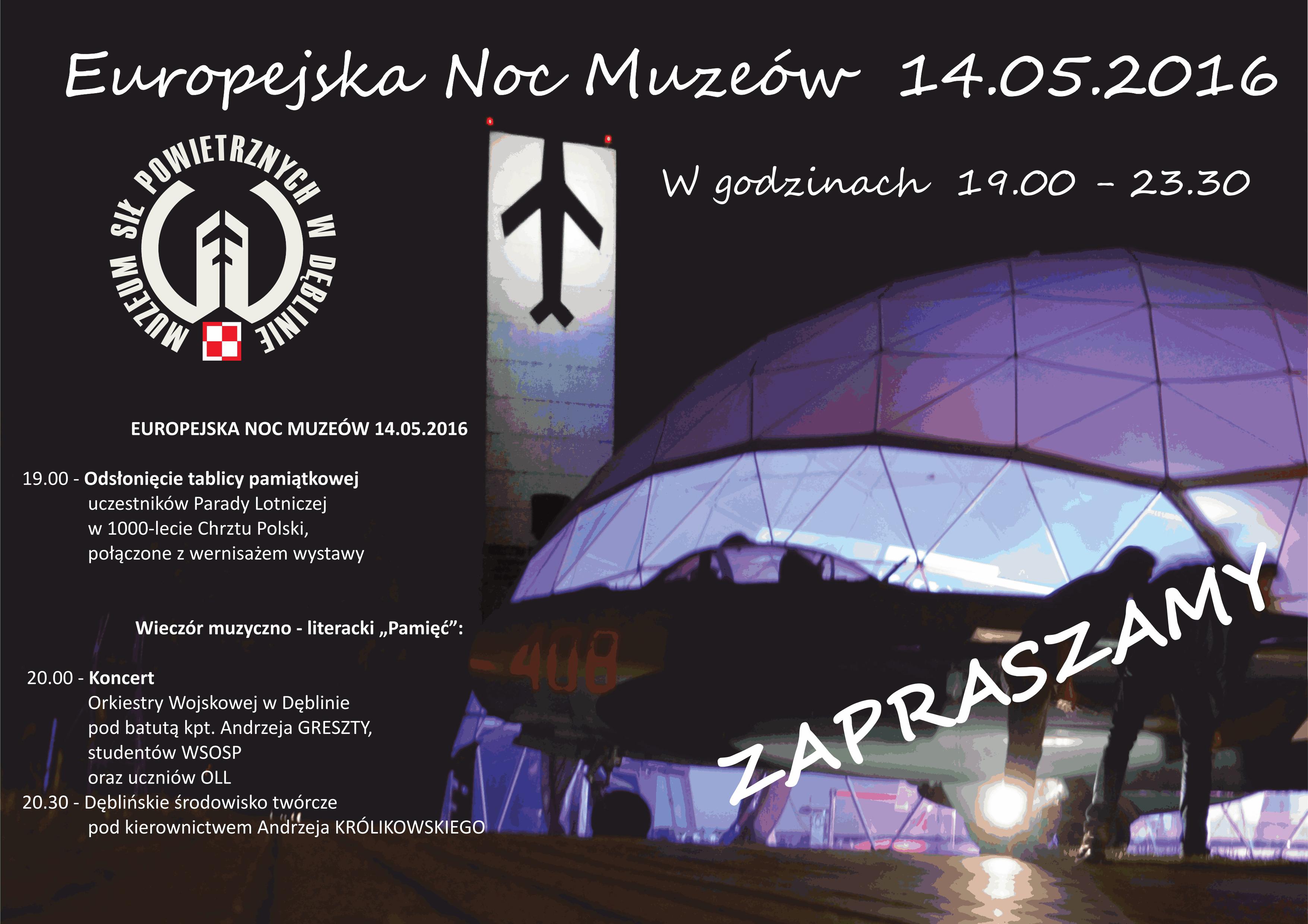 Plakat MSP Dęblin 2016 Europejska Noc Muzeów strona